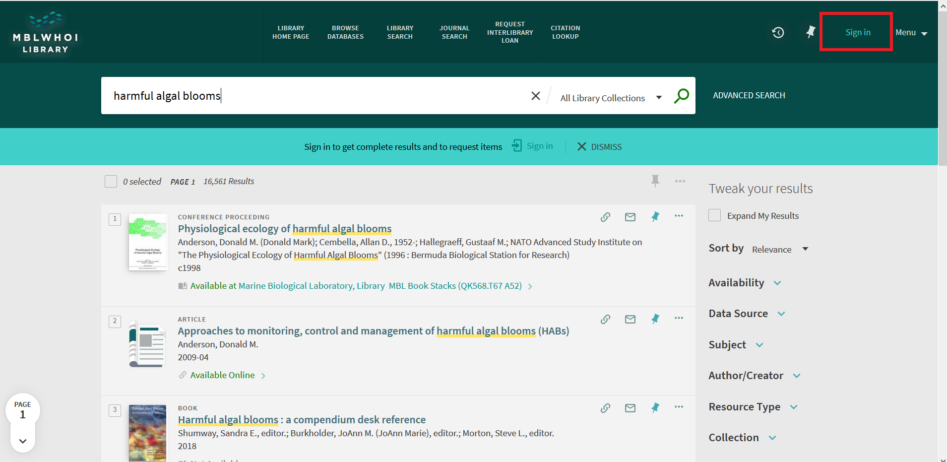 "Screenshot of Primo Search bar with ""harmful algea blooms"" typed in search box"