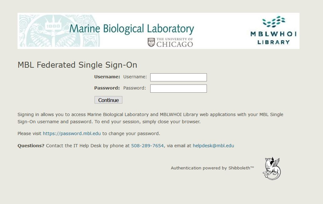 Screenshot of ILL log in