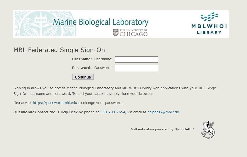 Screenshot of ILL log in