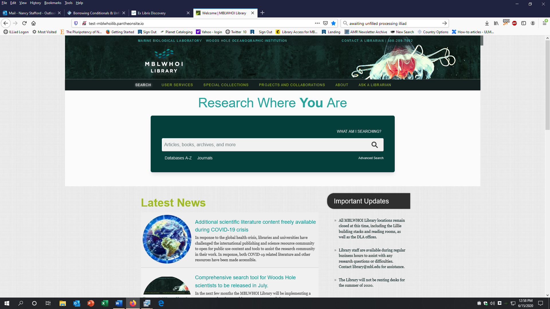 Screenshot of Library front page