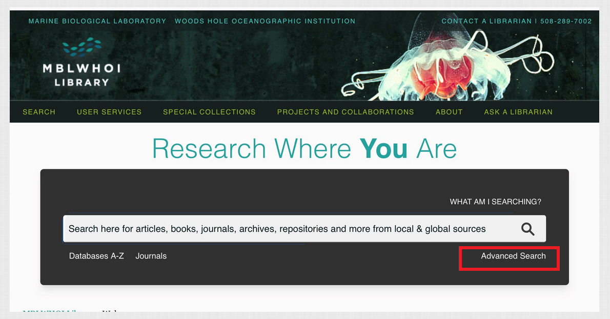Screenshot of Library front page search box with Advanced Search with red box around it