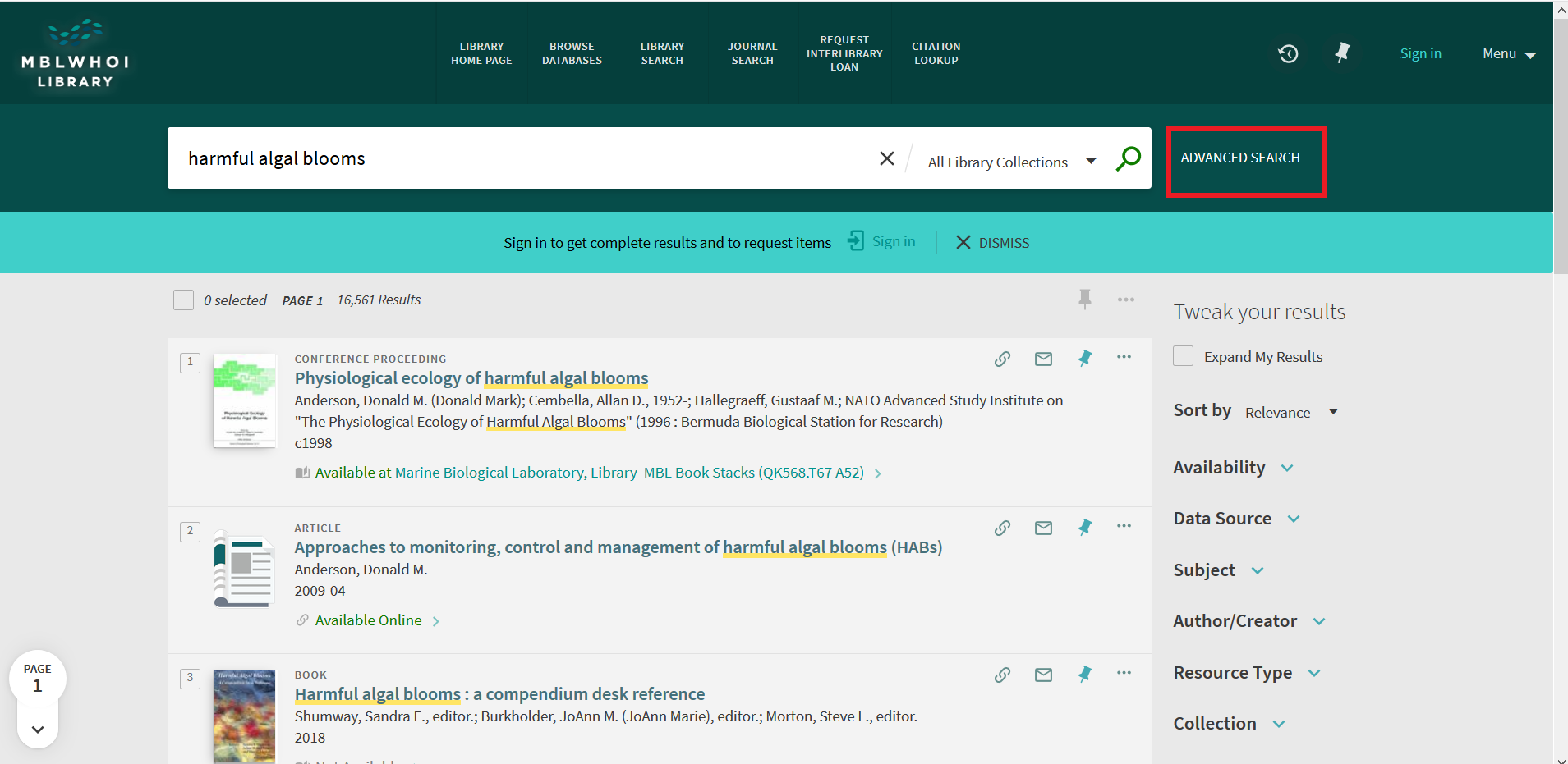 "Screenshot of search results for ""harmful algea blooms"""