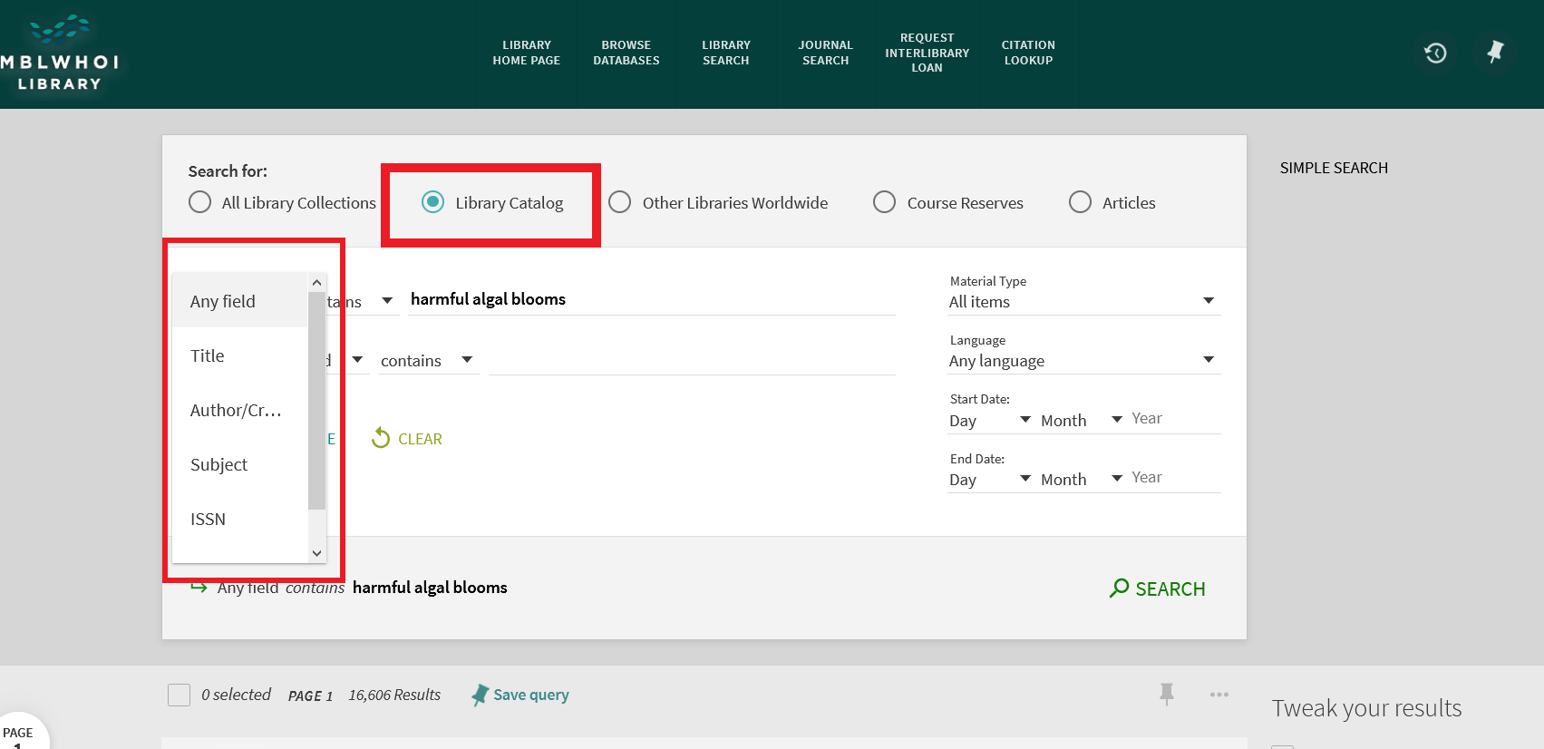 Screenshot of Advanced Search Field Search options