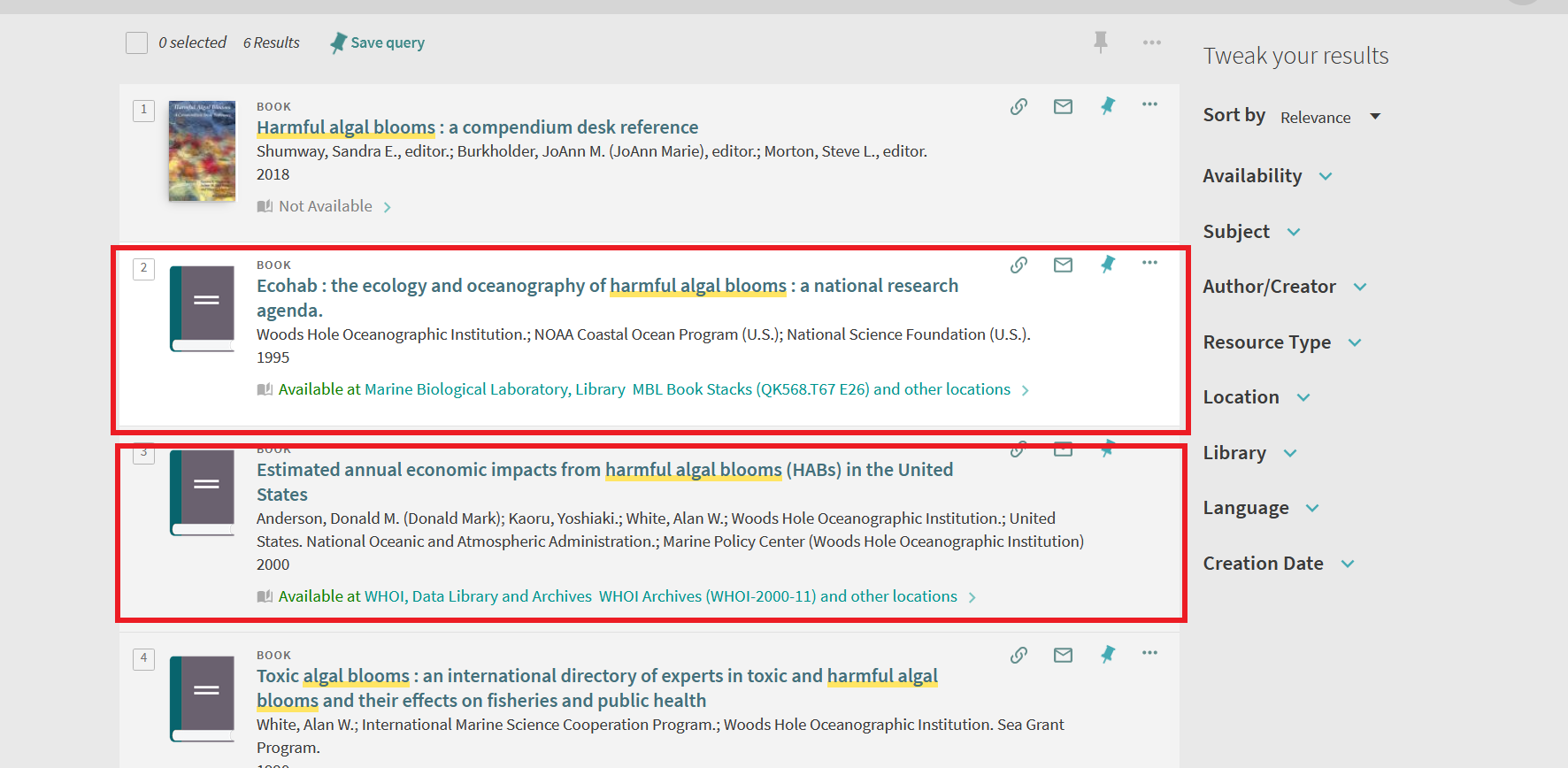 Screenshot of search results with red line around results available at the data library