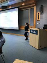 Data Librarian, Audrey Mickle, teaching a module on Data Management Planning at the  WHOI Data Science Training Camp 2020.